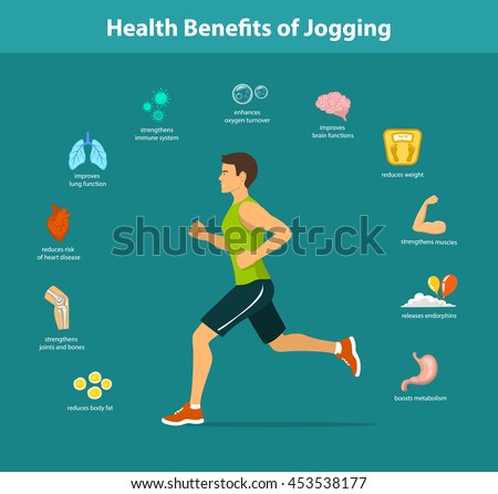 Man Running Vector Illustration. Benefits of Jogging Exercise infographics. Human Health Objects.