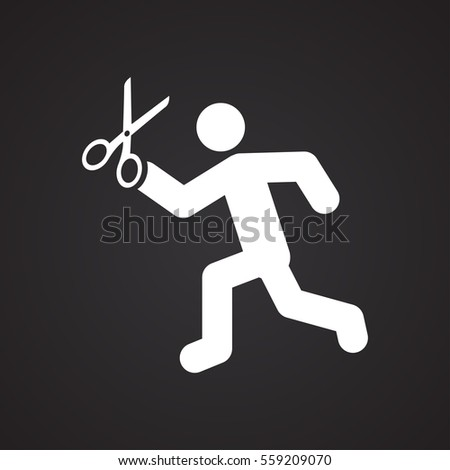 man running with scissors icon