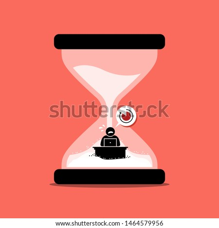 Man rushing his office work inside a sand clock or hourglass representing deadline. Vector artwork concept depicts stress, no time, desperation, urgency, and due date.