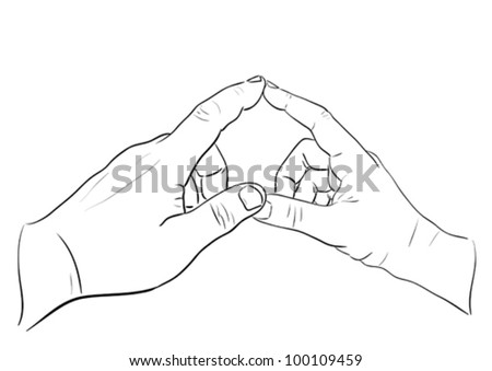 Man's and woman's hands touching in heart shape. Sketch illustration.