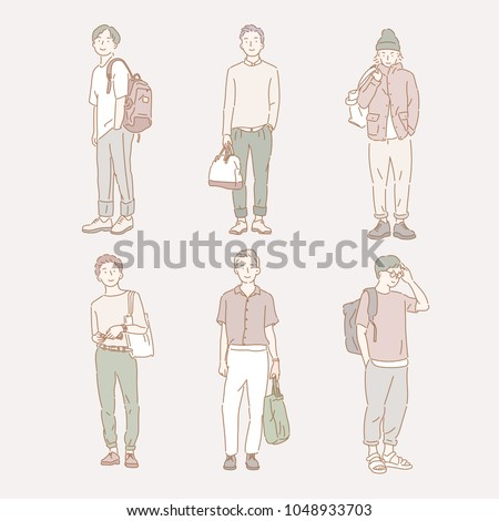 man's casual fashion styles. hand drawn style vector doodle design illustrations.