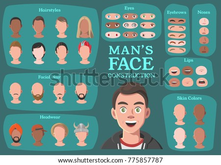 Man's Character Constructor. From Businessman to Hipster. Cartoon Man's Face Parts, Creation Spare Parts. Cartoon Style Faces. Body Part. Vector Illustration