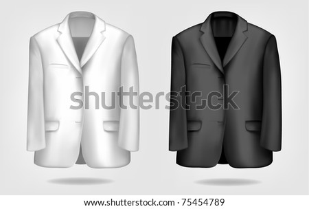Man's elegant black and white suits. Vector illustration.