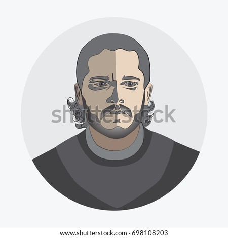 Man's face. Avatar. logo, template, icon, sticker. Fashion round flat icon for business, Internet, design. Game of Thrones character. John Snow