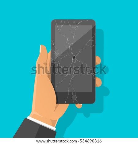 Man's hand holding broken smartphone with cracked screen. Damaged display. Vector flat cartoon illustration for web banners, sites, infographics design.