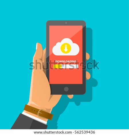 Man's hand holding smartphone with cloud, arrow and progress bar on the screen. Downloading information, file concept for web sites, web banners, infographics design. Vector flat cartoon illustration. stock photo