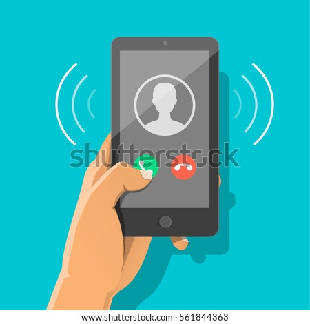 Man's hand holding smartphone with incoming call and finger touch screen. Receiving phone call concept. Vector flat cartoon illustration for web banners, sites, infographics design.