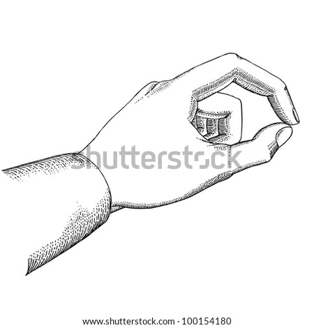 Man's hand holds