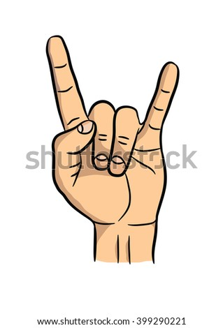 man's hand showing rock sign