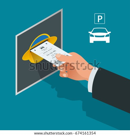 Man's hand with Parking tickets. Isometric Flat illustration vector icon for web. Urban transport. Parking space. Accessibility
