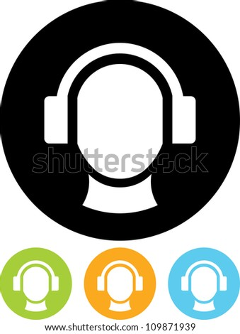 Man's head in headphones - Vector icon isolated