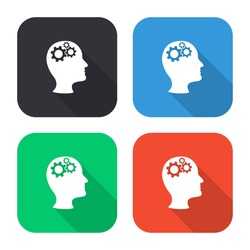 Man's head with cogwheel gears vector icon - colored illustration (gray blue green red) with  long shadow