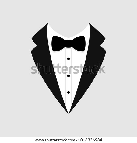 Man's jacket. Tuxedo. Weddind suit with bow tie. Vector illustration