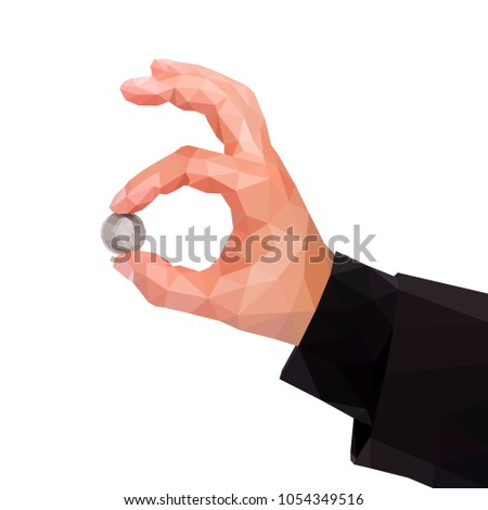 man's polygonal hand holds between two fingers of a quarter US dollar