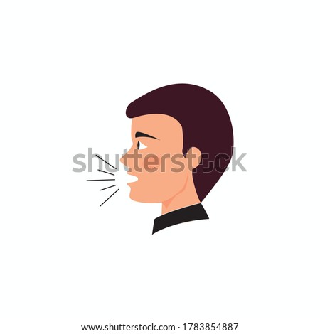 man's speech on white background. symbol or vector of male head with sound vibration icon, boy speaking, man talking, Flat, man with sound waves, man head front view, man's sound icon