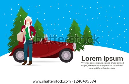 man santa claus costume with bag gifts near red retro car fir tree happy new year merry christmas concept flat copy space horizontal