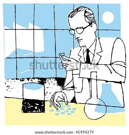 Man Scientist in laboratory vector illustration cartoon - stock vector