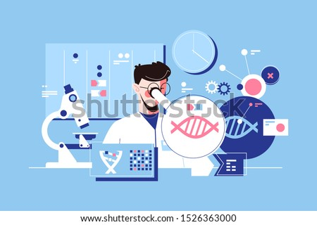 Man scientist in laboratory vector illustration. Researcher conducting research of dna molecule with microscope in lab flat style design. Science concept