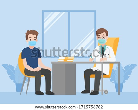 Man see doctor for check himself, Doctor consulting male patient, People wear face mask surgical protective Medical mask for prevent coronavirus. Health care concept. Сток-фото ©