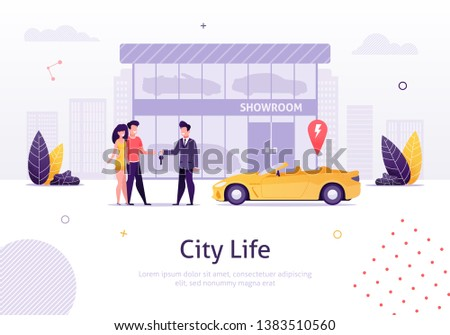 Man Selling Car to Couple of Young People Banner Vector Illustration. Man and Woman Buying New Cabriolet with Showroom on Background. Store of Vehicles. Character Giving Key to Boy.