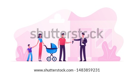 Man Selling or Renting House to Couple of Young People with Children. Happy Family with Kids Stand on Doorstep of House Getting Keys from Agent Moving to New Home. Cartoon Flat Vector Illustration