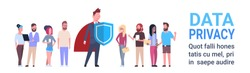 man shield mix race team GDPR data privacy on white background network protection of personal storage General Data Protection Regulation concept banner copy space vector illustration