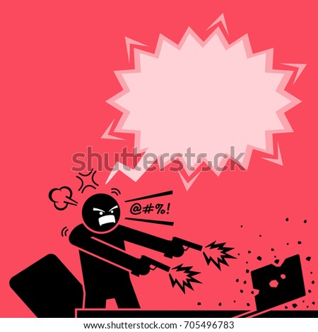 man shooting at a computer with