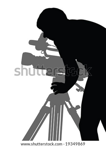 man shooting film vector silhouette isolated over white background