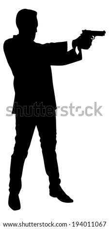 man shooting gun, vector
