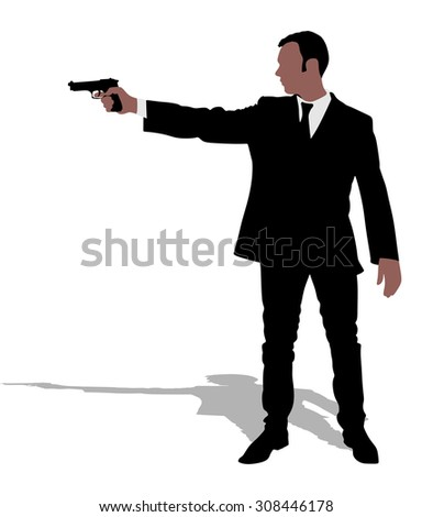man shooting gun  vector
