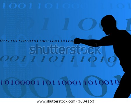Man shooting out Binary Numbers from his fist with binary background