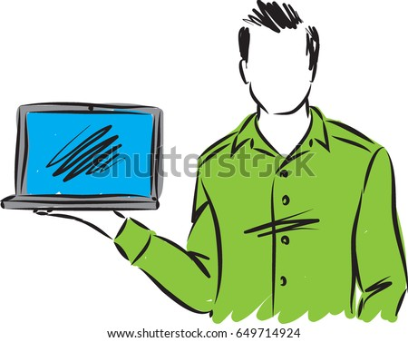 man showing computer vector illustration