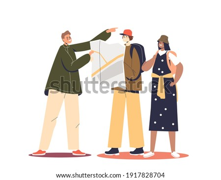 Man showing couple of tourist right direction of way. Lost travelers ask for locals help. Cartoon man and woman travel journey. Flat vector illustration Сток-фото ©