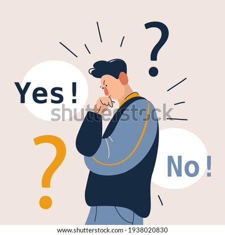 Man showing doubts. Male character can not make decision. Yes and no right and left side. Flat cartoon vector illustration in modern concept.
