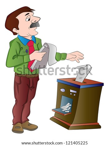 Man Shredding Documents, vector illustration