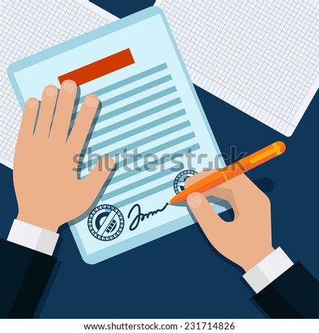 Shutterstock Man signs document stamped handle puts his signature cartoon flat design style