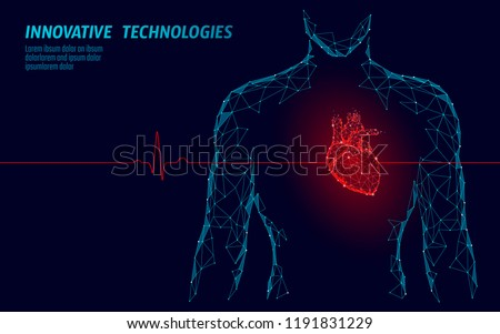 Man silhouette healthy heart beats 3d medicine model low poly. Triangle connected dots glow point red background. Pulse internal body modern innovative technology render vector illustration