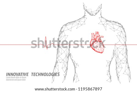 Man silhouette healthy heart beats 3d medicine model low poly. Triangle connected dots glow point online doctor. Pulse internal body modern innovative technology render vector illustration