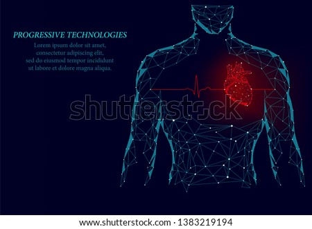 Man silhouette healthy heart beats 3d medicine model low poly. Triangle connected dots glow point red background. Pulse internal body modern progressive technology render vector illustration.
