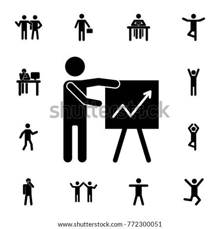 man silhouette presentation icon. Set of Silhouettes of people in different activities icons. Premium quality graphic design collection icons for websites, web design, mobile app on white background