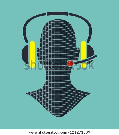 man silhouette with headphone