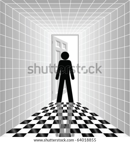 Man silhouetted in open doorway at end of corridor