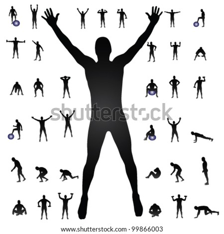 man silhouettes vector illustration
