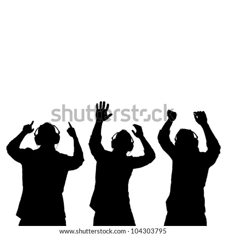 Man silhouettes with ear-phones listening to music against white background.