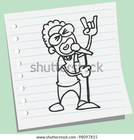 man singing rock music doodle illustration