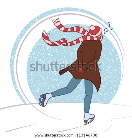 Man singing while goes skating on ice. Concept winter.