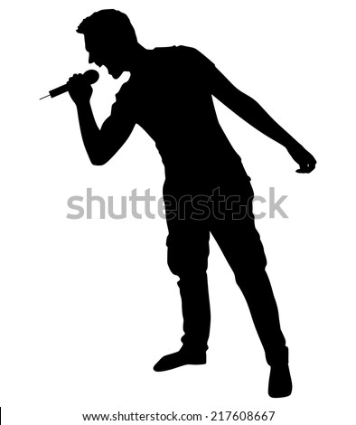 man singing with a microphone