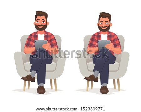 Man sits in a chair and holds a tablet in his hands. Internet surfing and work in a mobile application. Vector illustration in cartoon style