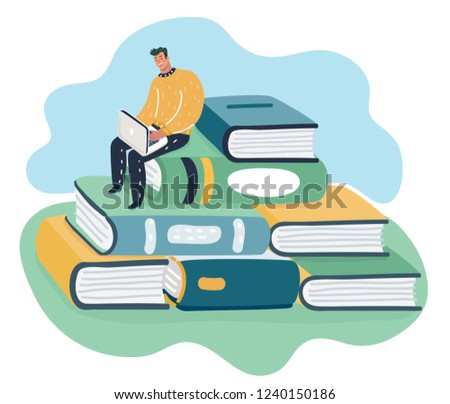 Man sitting and reading on a huge pile of books. Student self education and knowledge concept.
