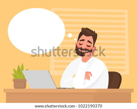 Man sitting at his desk dreams about something. Vector illustration in cartoon style